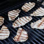 Lemongrass pork chops on a gas grill